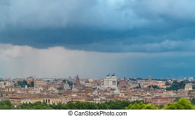 Panoramic view of historic center timelapse of Rome, Italy