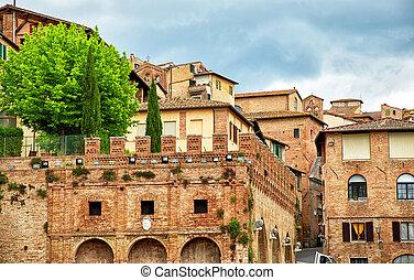 panoramic view of historic city Siena, Italy