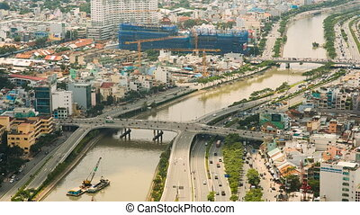 Panoramic view of Ho Chi Minh city or Saigon. Vietnam.