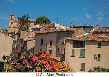 Panoramic view of houses of the quiet and charming Figanieres village.