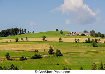 Panoramic view of idyllic landscape in summer