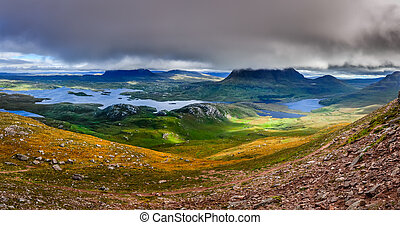 Panoramic view of Inverpolly mountains area in highlands of Scotland,  United Kingdom