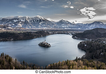 Panoramic view of island in Bled