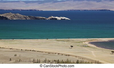 panoramic view of islands of lake Baikal. Small sea, island...