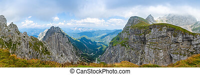 Panoramic view of Itaian Alps from Mangart saddle, Slovenia...