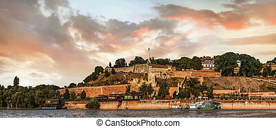Panoramic view of Kalemegdan fortress, and its tourist lookout with dominant Victor monument, captured from Sava river perspective, Belgrade, Serbia