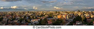 Panoramic view of Kathmandu from Patan at sunset, Nepal