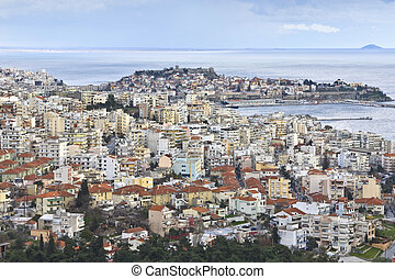 Panoramic view of Kavala city at North Greece, province of...