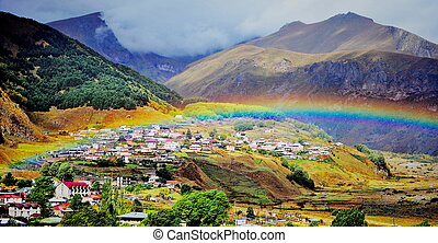 Panoramic view of  Kazbegi town