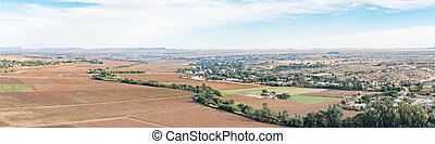 Panoramic view of Keimoes and vineyards as seen from Tierberg