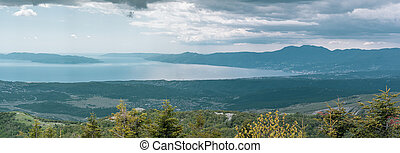 Panoramic view of Kvarner bay a view from the Black peak. ...