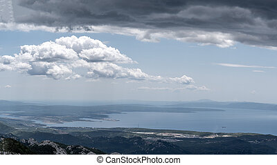 Panoramic view of Kvarner bay and island Krk a view from the...