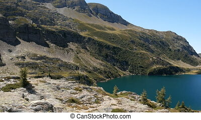 Panoramic view of lake Colombo basin and dam on the Bergamo Alps