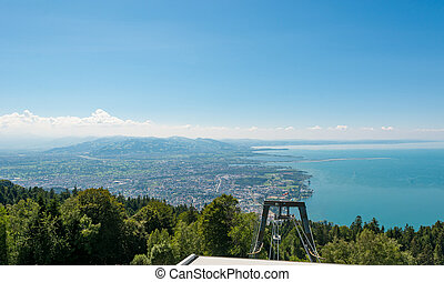 Panoramic view of lake Constance on a sunny day.