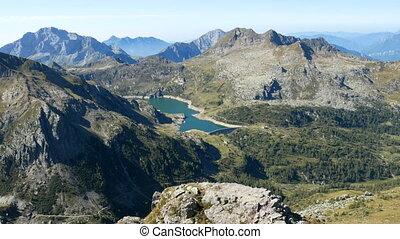 Panoramic view of lake Gemelli basin on the Bergamo Alps