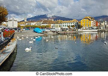 Panoramic view of Lake Geneva from town of Vevey, canton of Vaud, Switzerland