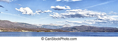 panoramic view of Lake Granby in Rocky Mountains, Colorado