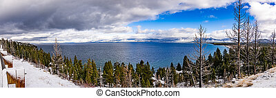 Panoramic view of Lake Tahoe on a stormy day, Sierra mountains, California