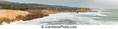 Panoramic View of LArge Cliffs and Beach in California