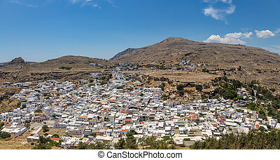 Panoramic view of Lindos town. Rhodes island, Greece