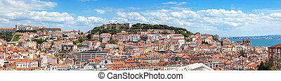 Panoramic view of Lisbon from Sao Pedro de Alcantara viewpoint - Miradouro in Portugal