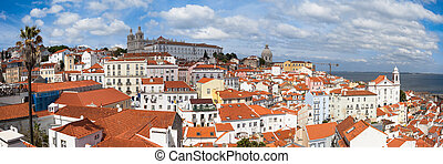 Panoramic view of Lisbon rooftop from Portas do sol viewpoint - Miradouro in Portugal