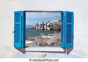 Panoramic view of little Venice on Mykonos Island, Greece
