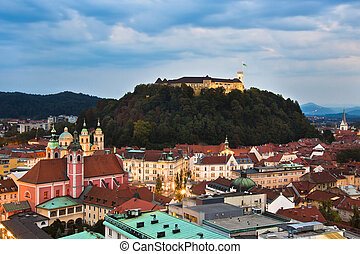 Panoramic view of Ljubljana, capital of Slovenia