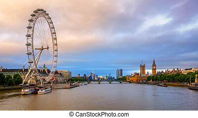 Panoramic view of London city, England, United Kingdom, on sunrise