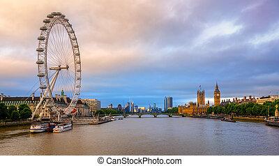 Panoramic view of London city, England, United Kingdom, on sunrise