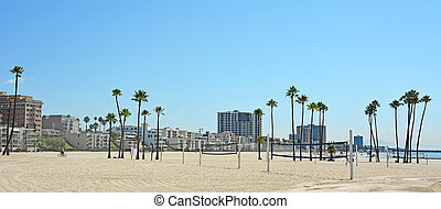 Panoramic view of Long beach in CA, USA