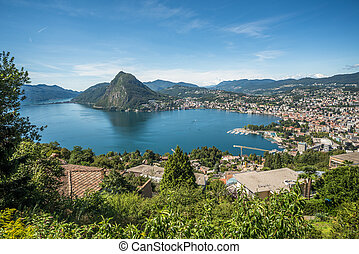 Panoramic view of Lugano, Ticino canton, Switzerland