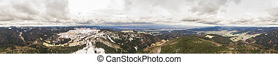 panoramic view of magnificent landscape with cloudy mountains, Germany