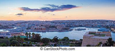 Panoramic view of Malta at dusk