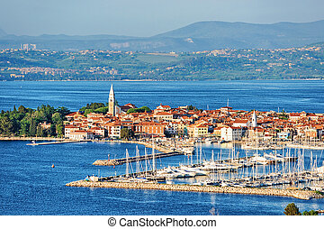 Panoramic view of Marina in Adriatic in Izola Slovenia