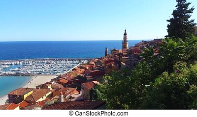 Panoramic View of Menton in France - Panoramic View of the...