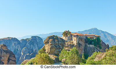Panoramic view of Meteora in Greece with ancient monastery ...