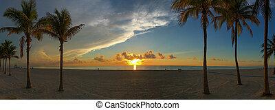 Panoramic view of Miami South Beach sunrise.