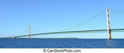Panoramic View of Michigan's Mackinac Bridge