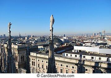 Panoramic view of Milan - Landscape panoramic view of Milan ...