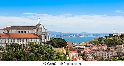 Panoramic view of Miradouro da Graca from Senhora do monte viewpoint - miradouro in Lisbon, Portugal
