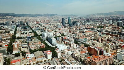 Panoramic view of modern areas in coastal zone of Barcelona