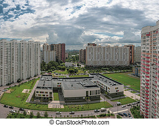 Panoramic view of modern residential complex for families, ...
