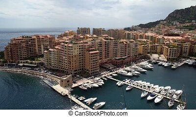 Panoramic view of Monaco in spring of 2018, cars and yachts