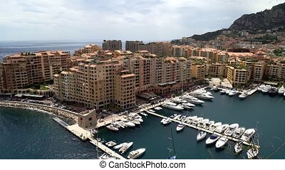 Panoramic view of Monaco in spring of 2018, sea on a windy day