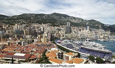 Panoramic view of Monaco Monte Carlo in spring of 2018, luxury buildings