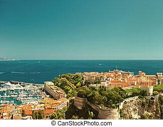 panoramic view of Monaco. vintage style