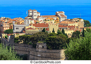 Panoramic view of Monaco with palace (Chateau Grimaldi), old...
