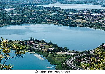 Panoramic view of Monte Barro. 3 lakes