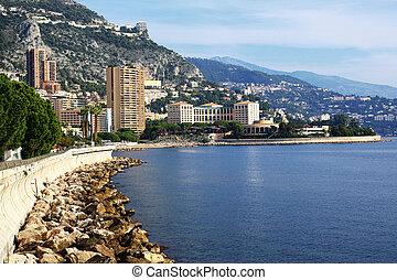 Panoramic view of Monte Carlo, Monaco. Principality of ...